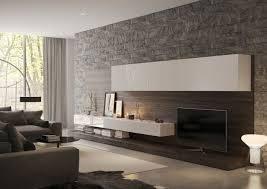 graue steinwand wohnzimmer weiße regale graue