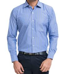 blue white pencil stripes mens shirt