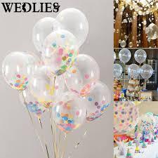 10Pcs 12 Inch Clear Latex Confetti Balloons Helium Balloons Set