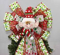 Festive Elf Christmas Tree Topper Bow