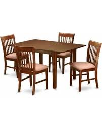 5 Piece Kitchen Nook Small Dining Table And 4 Room Chairs Wood Seat