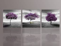 Amazoncom Nuolan Art Canvas Print 3 Panels Purple Trees Modern