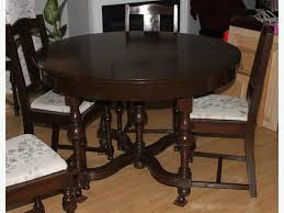 Antique Oak Dining Room Table Chairs Cabinet Late 1800s