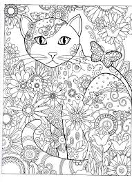 Coloring Pages Of Dogs And Cats Printable Free Cat Abstract Doodle Colouring Adult Detailed Advanced