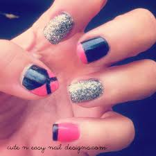Cute And EASY Nail Design - Black With Hot Pink + Glitter Nails ... 10 How To Do Nail Polish Designs At Home To Easy Art For Short Nails Best 2018 Cute At Beauteous Top Pretty And Long Design Ideas Very Beginners Polka Dots Beginners Awesome Gallery 3 Ways Make A Flower Wikihow Simple Way Pasurable