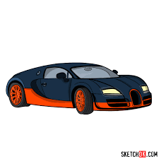 How To Draw Bugatti Veyron 164 Super Sport Step By Step Drawing