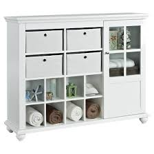 reese park storage cabinet with 4 fabric bins glass door white