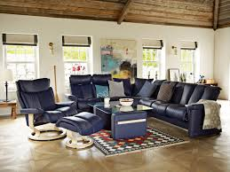 Ergonomic Living Room Chairs by Stressless Legend Sofa In Paloma Leather Color Indigo And Magic