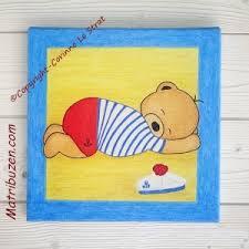 tableau ourson chambre bébé tableau enfant bébé nounours ourson ours marin déco chambre bébé