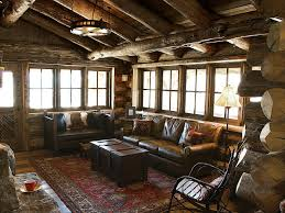 Round Iron Hanging Lamps Over Brown Sectional Sofa And Log Wood Ceiling Also Rectangle Coffee Table Box