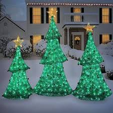 Spiral Christmas Tree Set Of 3 Outdoor Lighted Trees Home Design And Decorating