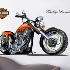 Home Decor Amazing 3d Harley Motorcycle Wall Stickers