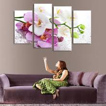 2017 Real Hot Sale Cuadros 4 Panels Set Beautiful Butterfly Orchid Picture Canvas Painting Artwork