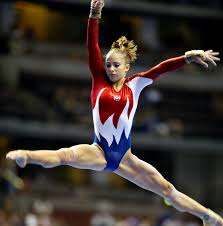 Dominique Moceanu Floor Routine by Gymnast Doing Splits On Balance Beam During Competition Women U0027s