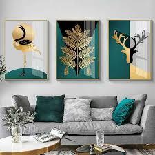 wohnzimmer dekoration malerei triptychon moderne