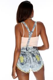 faded denim distressed overall shorts