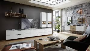 wohnwand schrankwand anbauwand wohnzimmer mediana4 10 tlg hängevitrine hängeregal tv wandboard weiß eiche led beleuchtung
