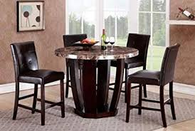 GTU Furniture 5Pc Round Faux Marble Top Table With 4 Leather Chairs Counter Height Kitchen