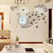3d wanduhr modern design home decor wand uhren wohnzimmer 39 stücke diamanten pfau dekorative schmiedeeisen schweigen großer uhr