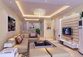 Cool Living Room Square Pop Ceiling With Recessed Cove Lighting And Crystal Pendant Lamp