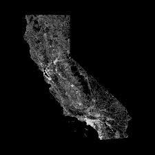 Map Of All Roads In California OC 1800x1800 Xpost Dataisbeautiful