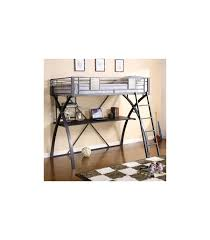 Twin Bed/Workstation By X Style Metal Twin Size Loft Bed, Gun Metal +  Chrome Collection