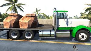 100 Two Ton Truck BeamNG Drive 6x4 Flatbed Transporting 6 Rocks