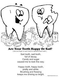 Teeth Coloring Pages Happy Tooth Sad Fingerplay Of Brush Educations