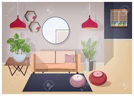 das wohnzimmer ist mit stilvollen komfortablen möbeln und wohnaccessoires ausgestattet gemütliches sofa couchtisch zimmerpflanzen len