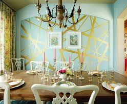 Housing Trends Metallic Accents Of Wall Design Ideas Dining Area