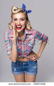 Portrait Of Beautiful Young Happy Smiling Woman Dressed In Pin Up Style Caucasian