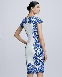 tadashi shoji lace panel cocktail dress in white lyst