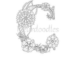 Printable Letters Adult Coloring Pages Books Floral Anti Stress Hand Lettering Drawn Colour Book Zen