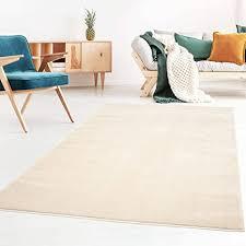 kurzflor designer uni teppich weich fürs wohnzimmer schlafzimmer esszimmer oder kinderzimmer gala natur weiß 160x230 cm