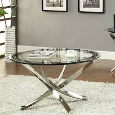 Steel Glass Round Coffee Table Modern Display For