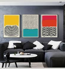 abstrakte linie geometrische leinwand malerei wand kunst bild moderne bunte rot blau gelb poster druck für wohnzimmer wohnkultur