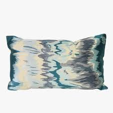 Decorative Outdoor Lumbar Pillows by Aqua Watercolor Embroidery Lumbar Pillow Dear Keaton