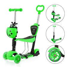 yoleo 5 in 1 kinder roller scooter mit abnehmbarer karikaturkorb sitz schubstange led große räder bequeme rückenlehne höheverstellbare lenker für