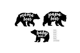 Mama Bear Baby Papa Daddy Family SVG
