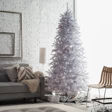 7 Ft White Pre Lit Christmas Tree by 7 5 Ft Layered White And Silver Frasier Fir Prelit Christmas Tree