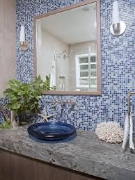 Coastal Bathroom Decor Pinterest by Photos Hgtv Coastal Bathroom With Blue Mosaic Tile Wall Loversiq