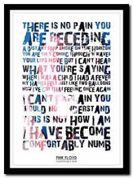 PINK FLOYD fortably Numb lyric poster ❤ typography art