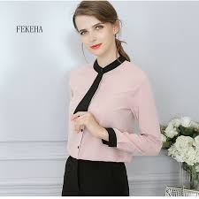 Women Chiffon Blouses New 2018 Spring Fashion White Black Patchwork Slim Office Work Wear Shirts