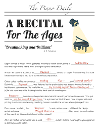 Halloween Mad Libs Pdf reflect on piano recital performances with this fun
