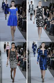 dress inspiration oscar de la renta bright blue black white