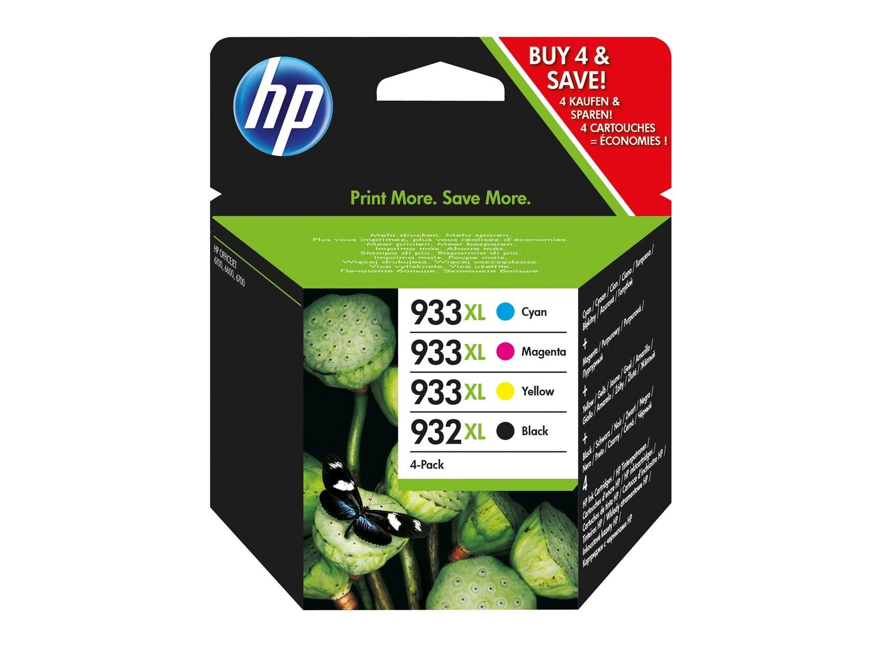 HP 932XL & 933XL Printer Ink Cartridge - 4 Pack
