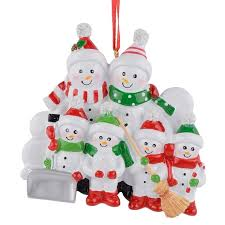 Ornament 6 Snowman Family 2018 Christmas Tree Decorations
