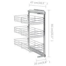 3 stufiger ausziehbarer küchen drahtkorb silbern 47x25x56 cm heimxl de