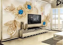 kundenspezifische wallpaper für wände 3 d blauen edelstein blume hintergrundwand tapeten für wohnzimmer