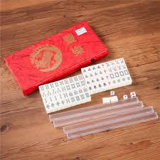 Pai Gow Tiles Strategy by Portable Mini Chinese Mahjong Game Travel Set 144 2 Spares Ivory